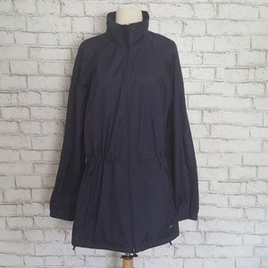 Woolrich Navy Blue Hooded Long Sleeve Raincoat